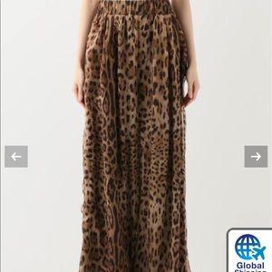Samantha Eng leopard wide leg silk pant sz S